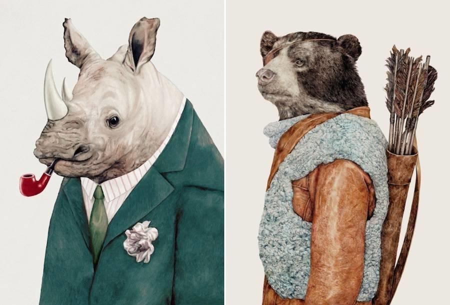 Картинки животных в одежде людей, рисунки открыток поделки