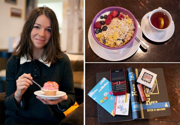 Завтрак и содержимое сумки разных людей