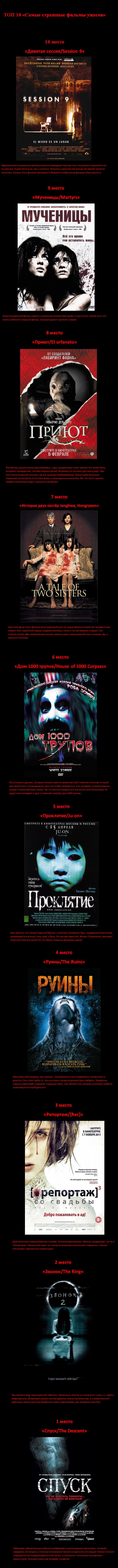 самые страшные фильмы ужасов топ 10 ёжинру