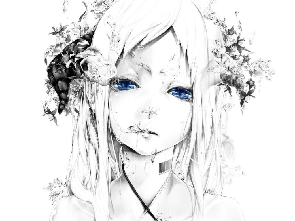 Аниме девушка с голубыми глазами черно-белое