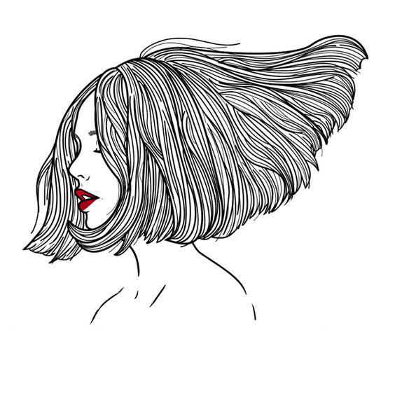 Прическа нарисованная в стиле тумблер