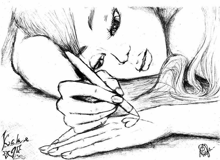 Нарисованная девочка черное белое