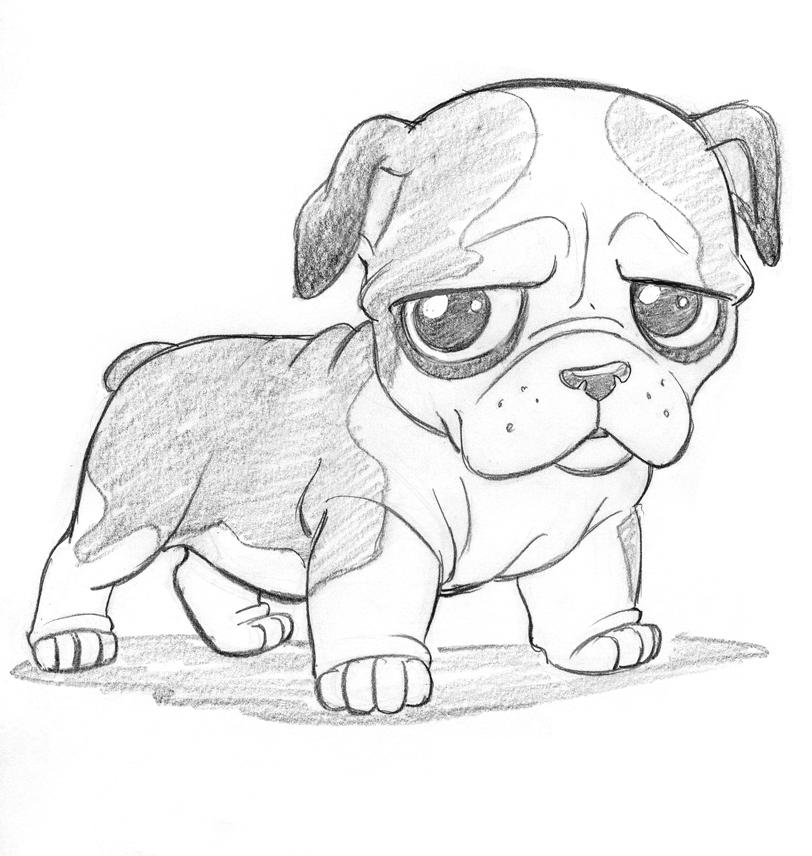 Собака маленькая карандашом
