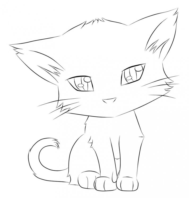 Котенок простой карандаш