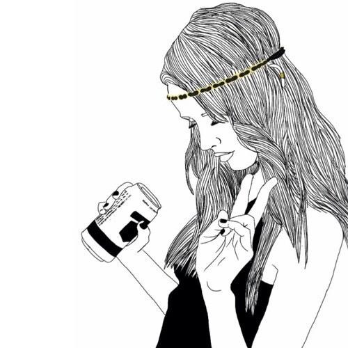 Девушка с колой нарисованная в стиле тумблер