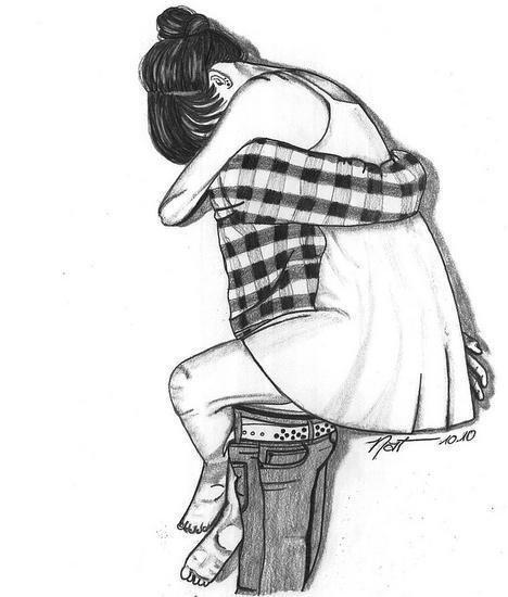 Девушка на руках у парня нарисованная в стиле тумблер
