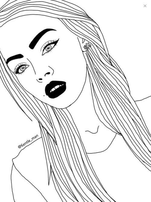 Девушка с волосами нарисованная в стиле тумблер