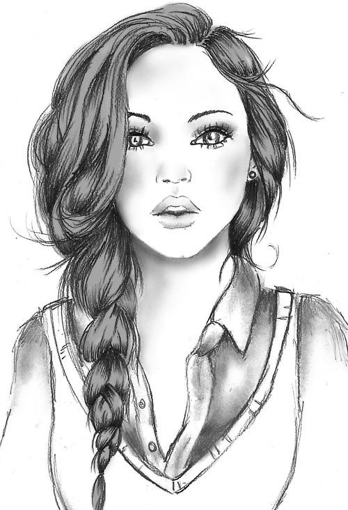 Девушка простым карандашом