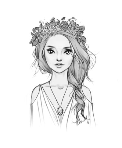 Нарисованная девушка с венком