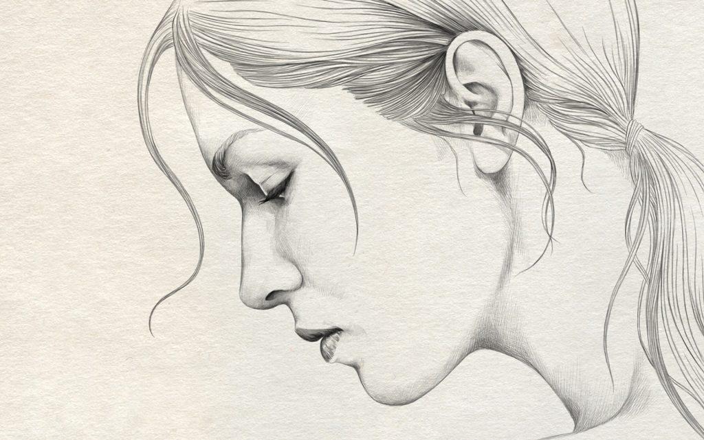 Профиль девушки карандашом