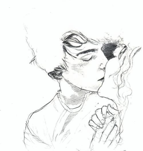 Поцелуй простым карандашом