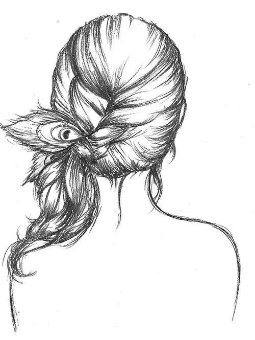 Картинки для срисовки волосы сзади