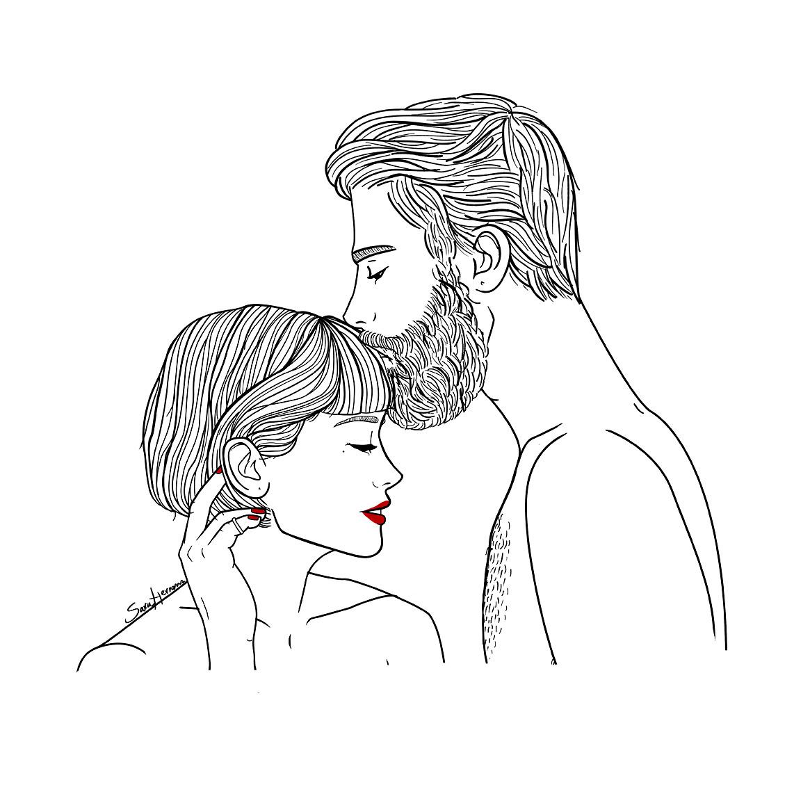 Картинки для срисовки женщина и парень
