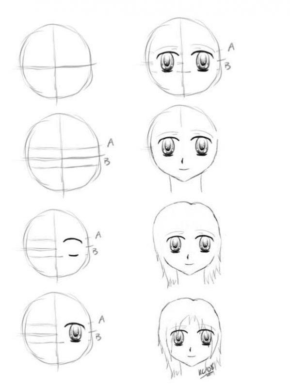 Поэтапно нарисовать карандашом аниме картинки