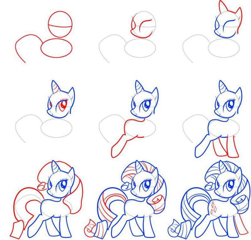 как нарисовать пони картинки карандашом это
