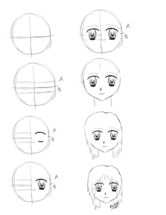 Аниме рисунки карандашом поэтапно для начинающих легко