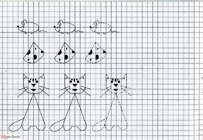 срисовать картинки карандашом по клеточкам светлые пряди