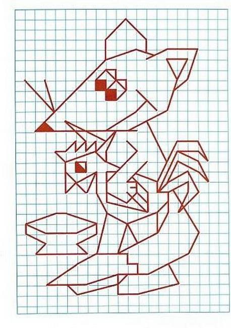 Оригами рисунок по клеточкам