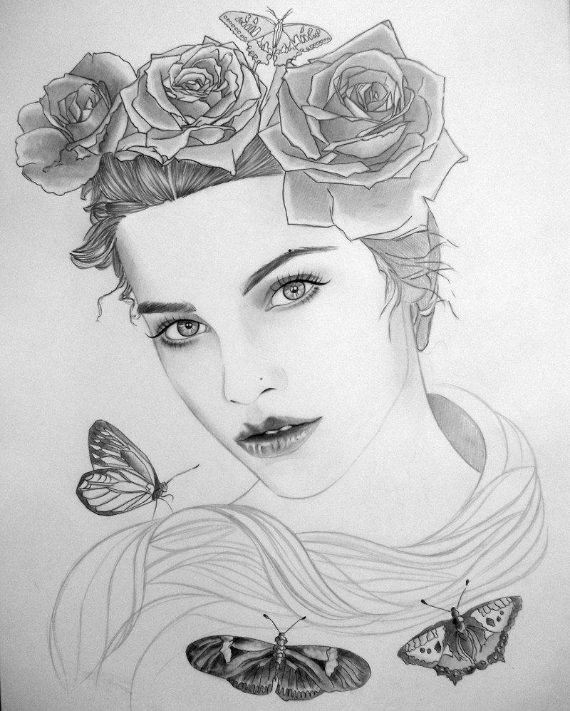 Картинки рисовать карандашом девушек