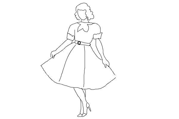 Февраля, женщина рисунок карандашом в полный рост в платье