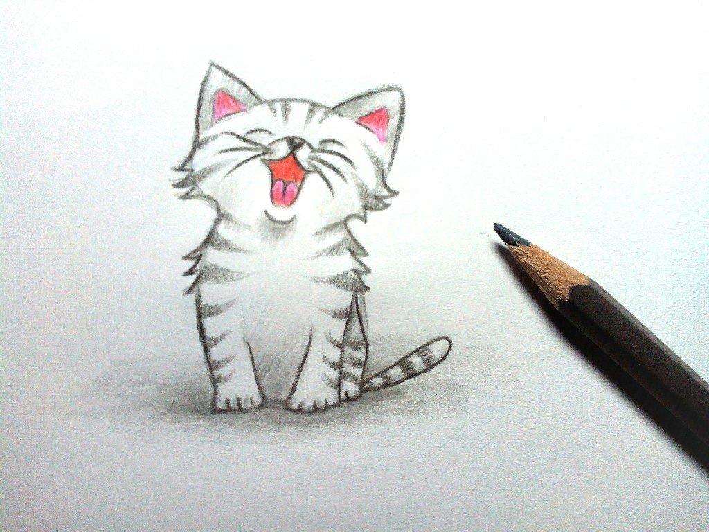 картинки карандашом легкие котята