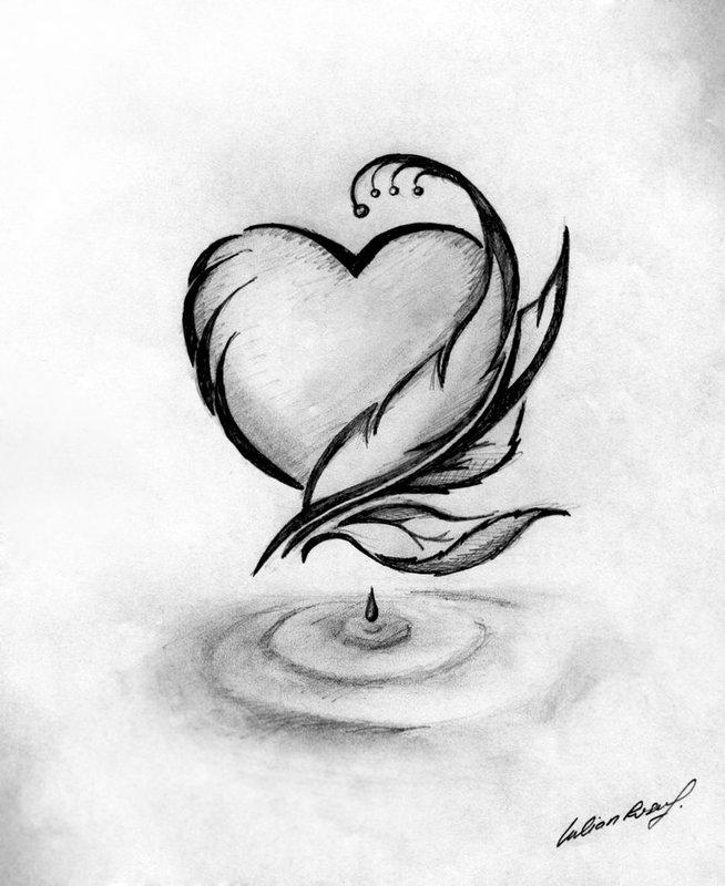 Рисунок карандашом: сердце