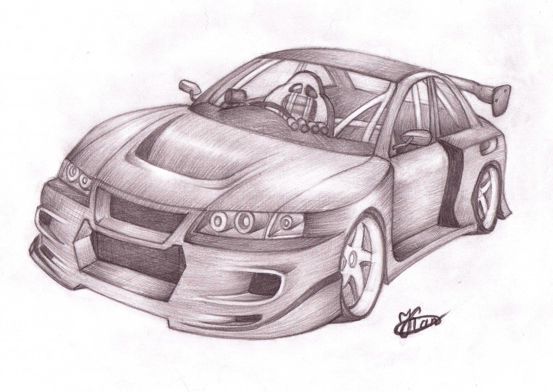 Прикольные рисунки машин карандашом