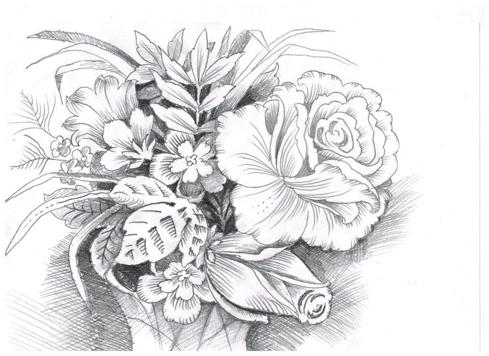 Восьмым, рисунок карандашом цветы