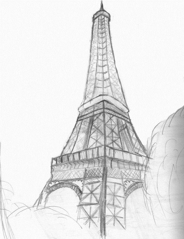 всего эйфелева башня картинки нарисованы карандашом занимает первое