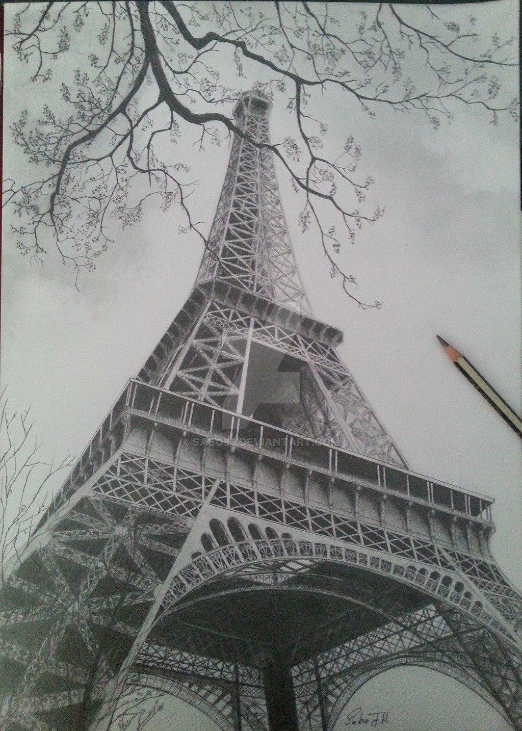 Картинки эйфелевой башни карандашом для срисовки, лет