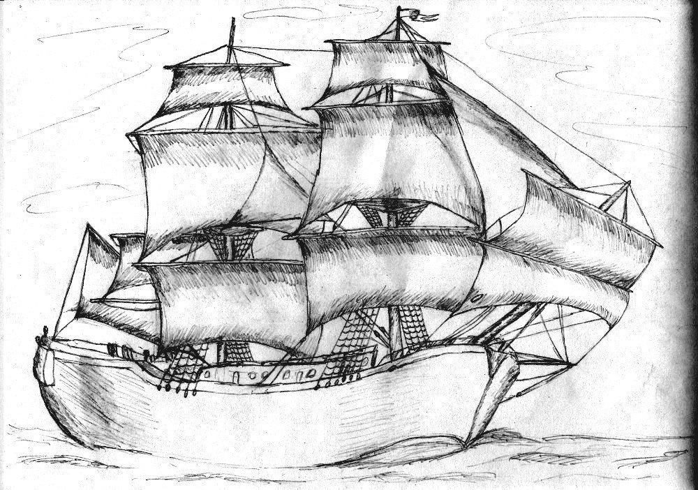 Корабль с парусом рисунок обойтись без