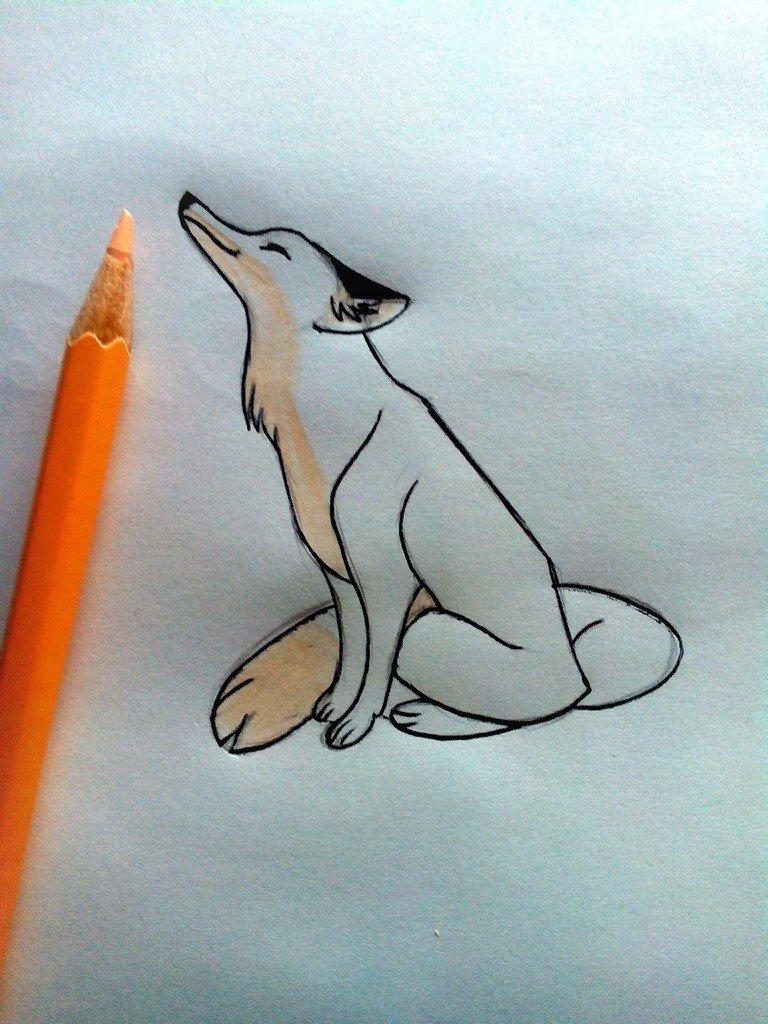 Лиса картинка карандашом для детей