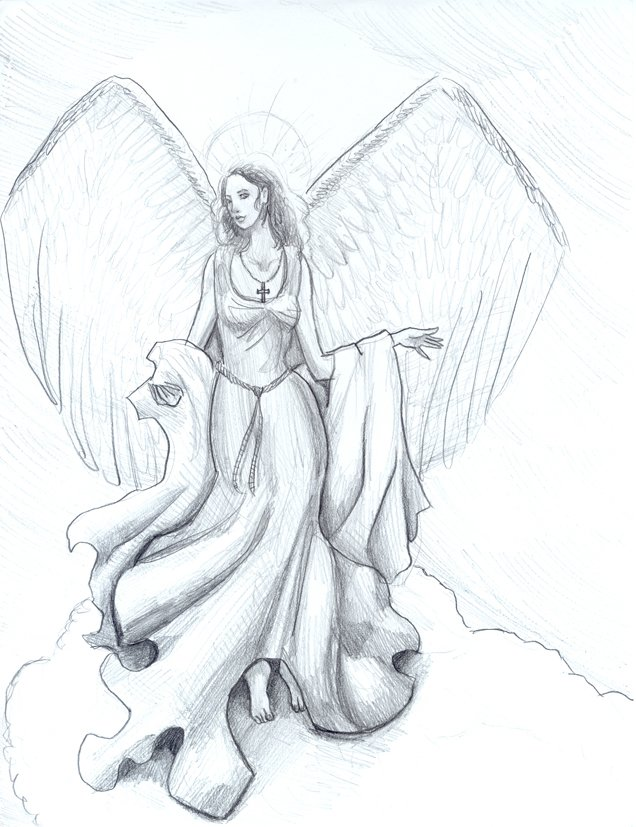 Самые красивые картинки ангела карандашом