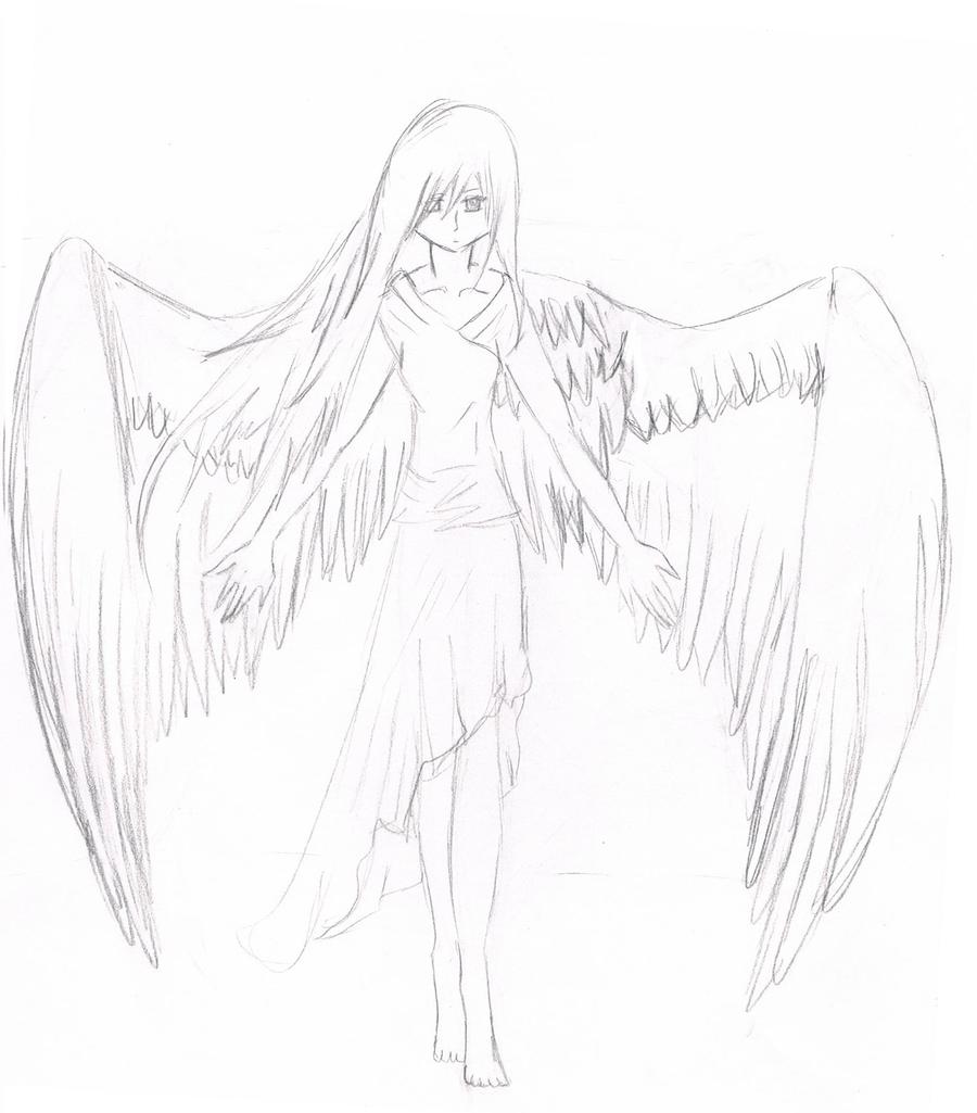 Картинки карандашом для срисовки ангел девушка