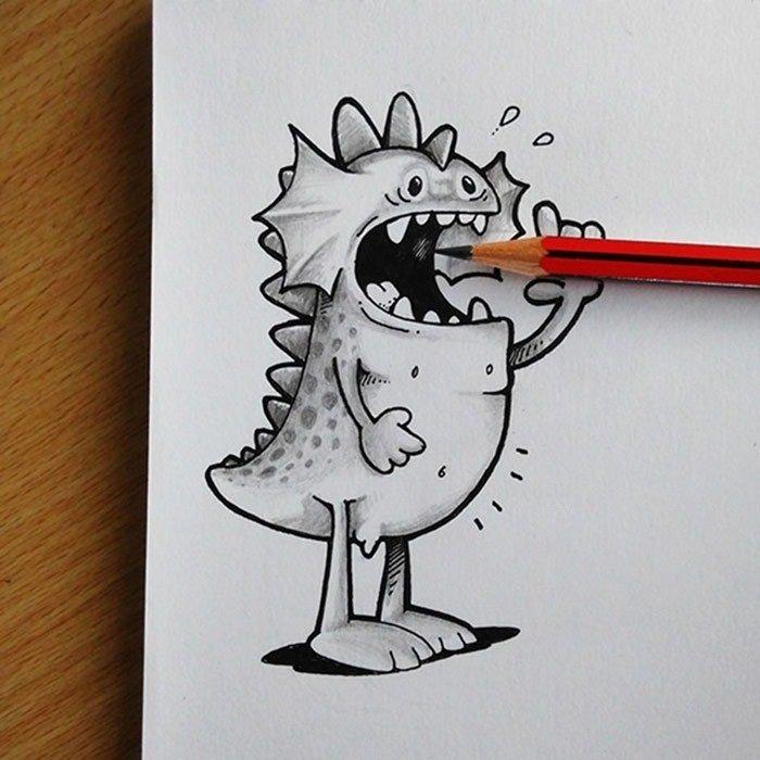 Смешные легкие картинки карандашом