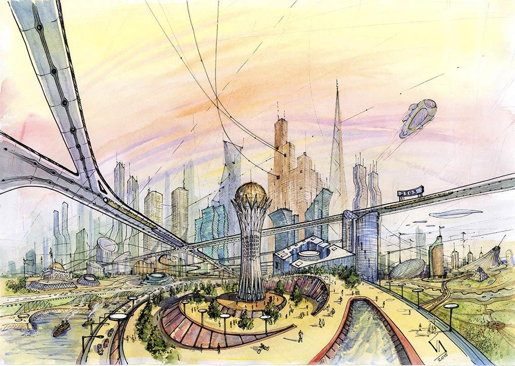 через рисунок город мечты карандашом для слива