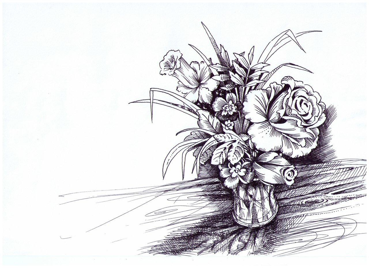 Картинки букет цветов как нарисовать
