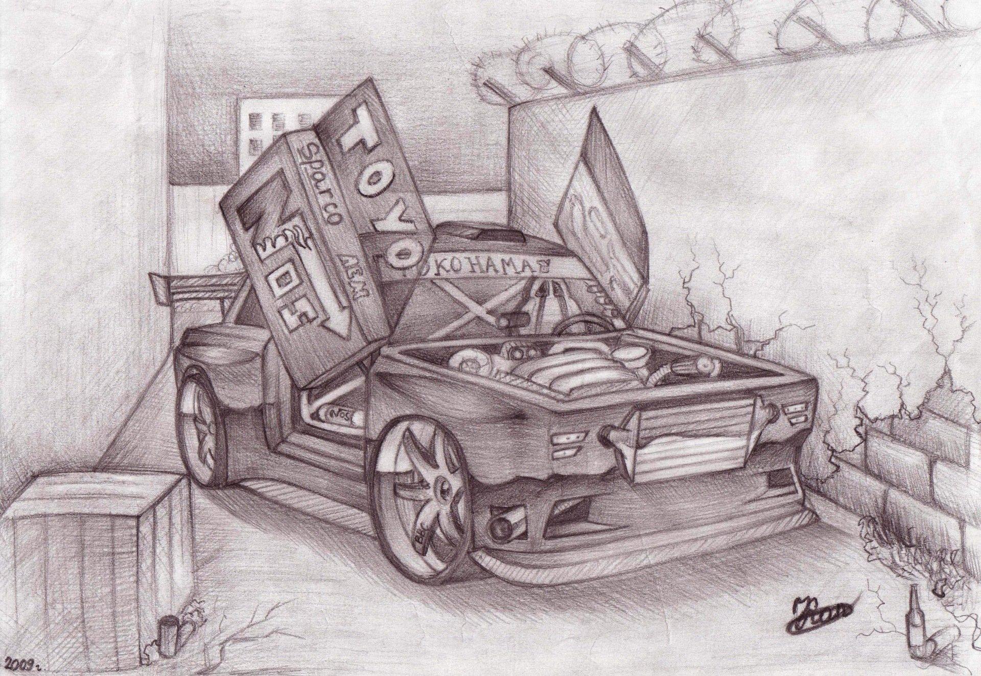 Рисунки карандашом прикольных машин