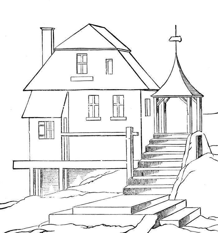 Баба ягодка, картинки дом мечты для срисовки