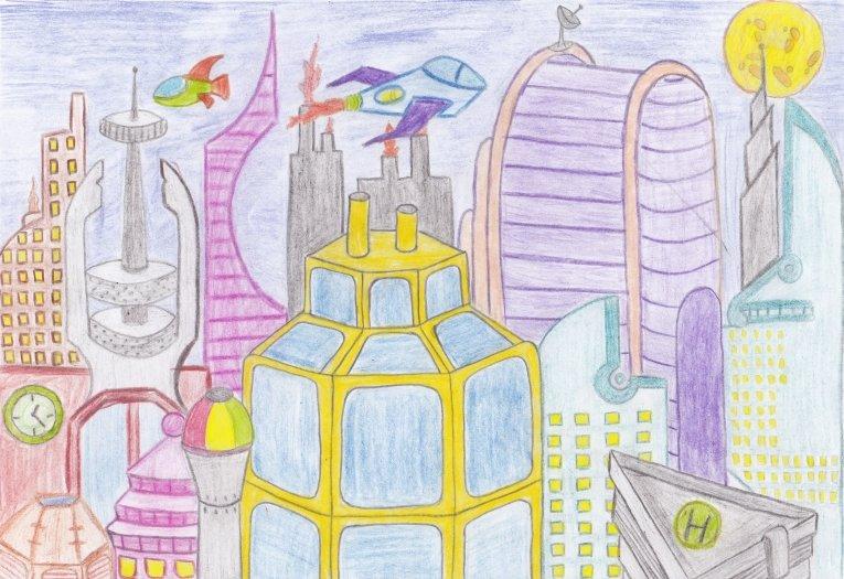 Картинки город будущего детей