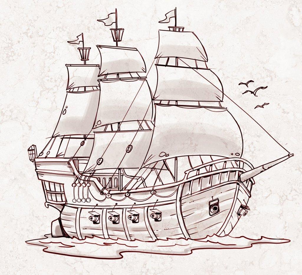 Картинки для рисования корабль