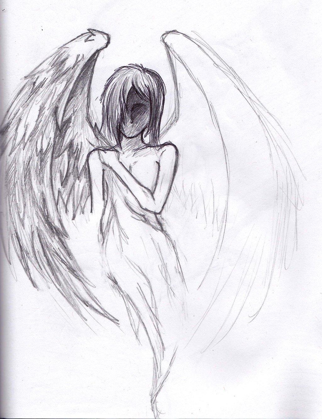 Картинки рисовать карандашом ангела