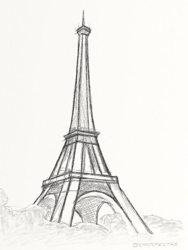 Рисунок карандашом: Эйфелева башня