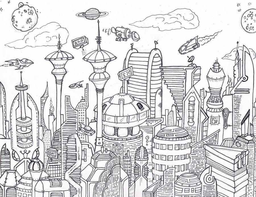 Космос город рисунок карандашом