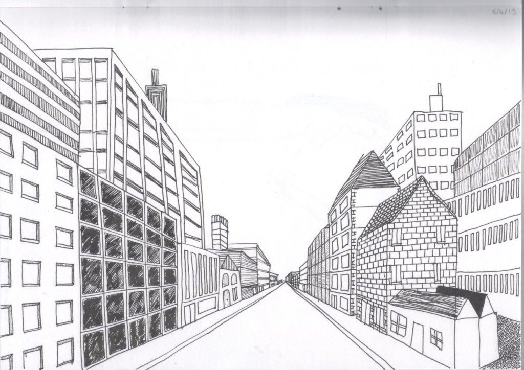 картинки про город карандашом каждого человека