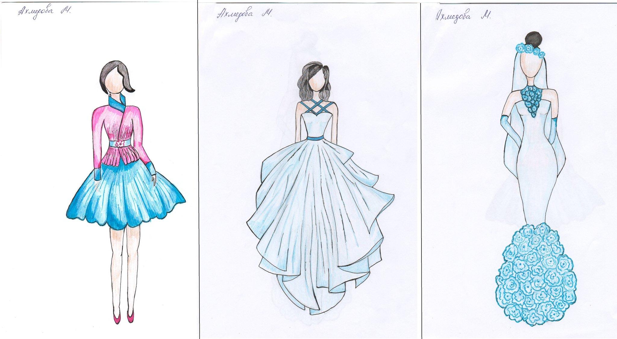 Рисунки карандашом платья для начинающих дизайнеров половине