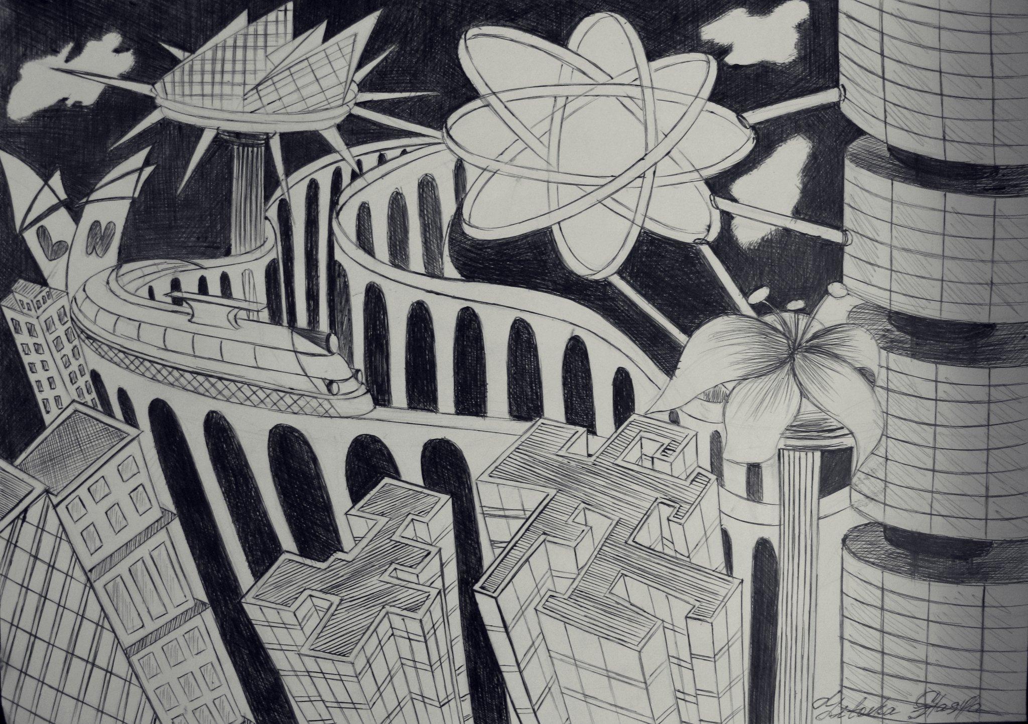Год, картинки город будущего нарисованные карандашом
