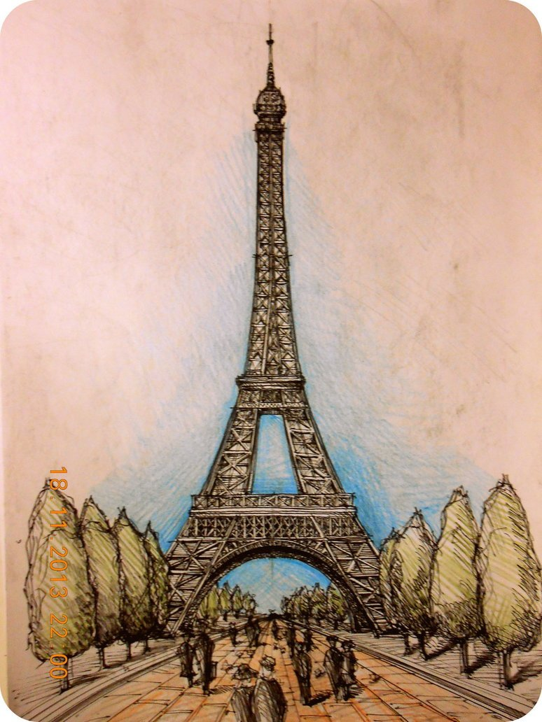 Эскиз картинки парижа