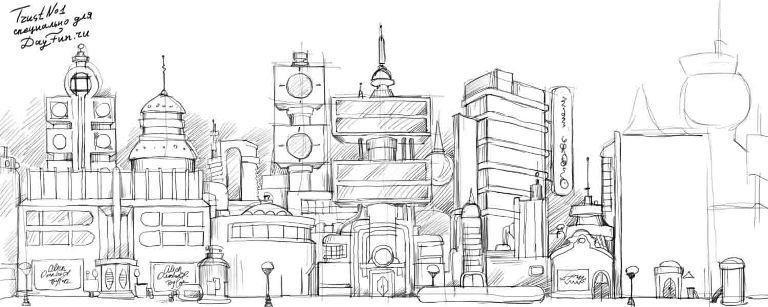 Фантастический город рисунки карандашом, грудастые голые девушки в юбочках