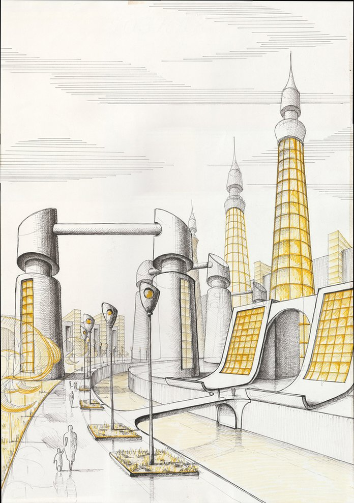 Картинки карандашом город будущего